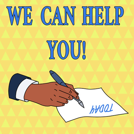 Word writing text We Can Help You. Business photo showcasing offering good assistance to customers or friends