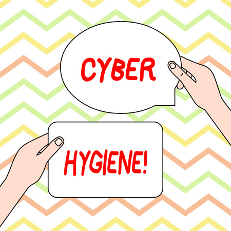 Conceptual hand writing showing Cyber Hygiene. Concept meaning steps that computer users take to improve their cyber security