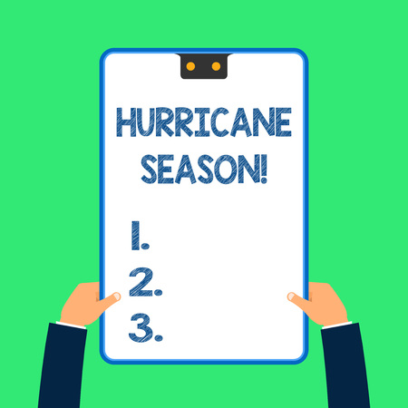 Text sign showing Hurricane Season. Business photo text time when most tropical cyclones are expected to develop 스톡 콘텐츠