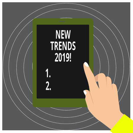 Writing note showing New Trends 2019. Business concept for general direction in which something is developing