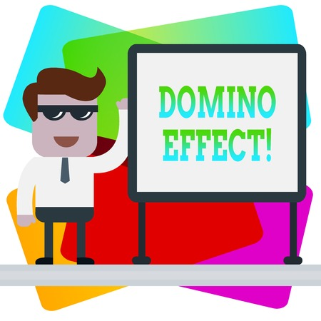 Word writing text Domino Effect. Business photo showcasing Chain reaction that causing other similar events to happen