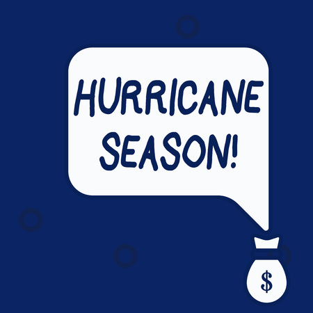 Writing note showing Hurricane Season. Business concept for time when most tropical cyclones are expected to develop