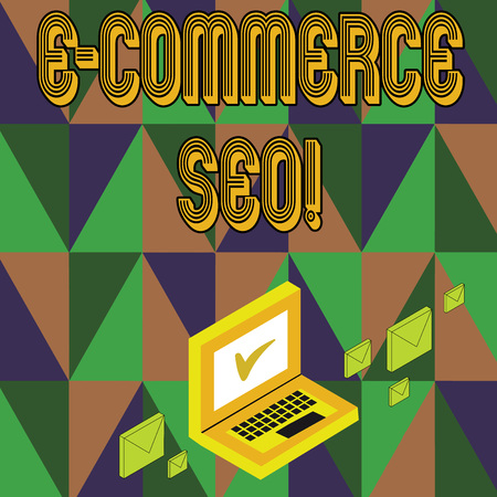 Writing note showing E Commerce Seo. Business concept for making your online store more visible in the search engine Mail Envelopes around Laptop with Check Mark icon on Monitor