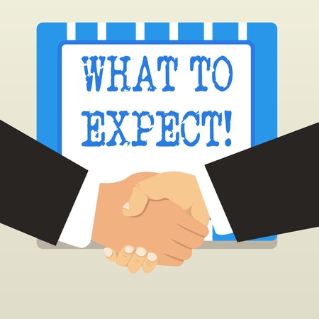 Word writing text What To Expect. Business photo showcasing asking about regard something as likely to happen occur 스톡 콘텐츠