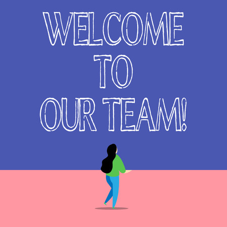Text sign showing Welcome To Our Team. Business photo text introducing another demonstrating to your team mates Banco de Imagens