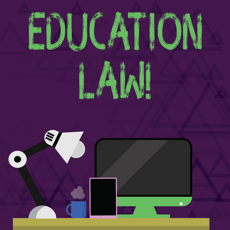 Writing note showing Education Law. Business concept for legal discipline covering all issues pertaining to schools Arrangement for Nightshift Worker Computer, Tablet and Lamp 스톡 콘텐츠