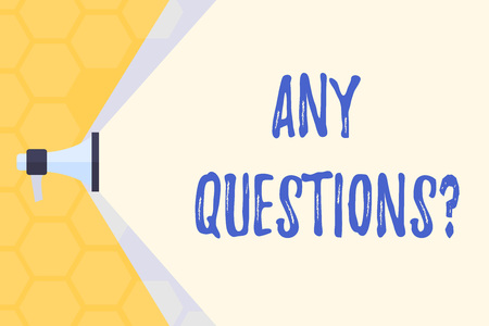 Text sign showing Any Questions Question. Business photo text you say write order to ask demonstrating about something Megaphone Extending the Capacity of Volume Range thru Blank Space Wide Beam