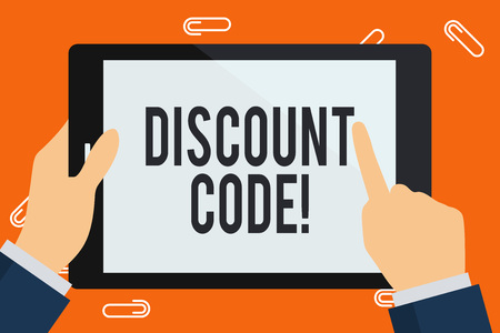 Word writing text Discount Code. Business photo showcasing Series of letters or numbers that allow you to get a discount Businessman Hand Holding, Pointing and Touching Colorful Tablet Blank Screen Stock fotó