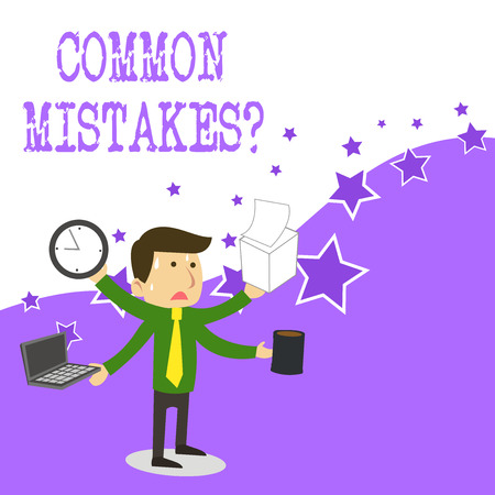 Text sign showing Common Mistakes Question. Business photo text repeat act or judgement misguided making something wrong Imagens