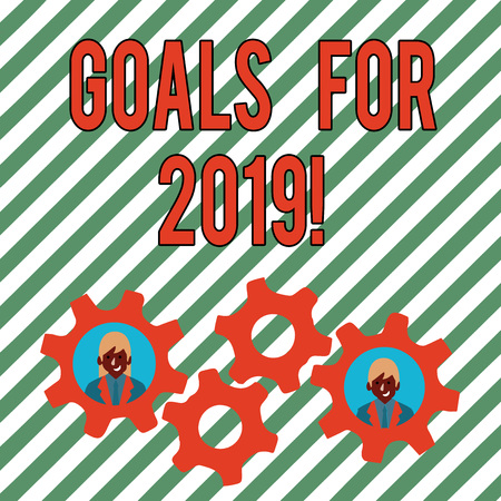 Conceptual hand writing showing Goals For 2019. Concept meaning object of demonstratings ambition or effort aim or desired result Two Business People Inside Cog Wheel Gear for Teamwork Event