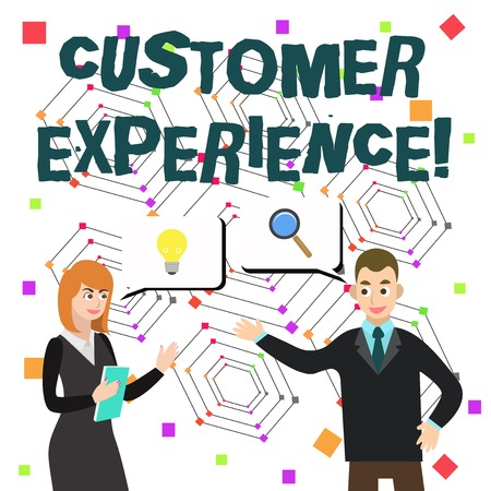 Word writing text Customer Experience. Business photo showcasing product of interaction between organization and buyer