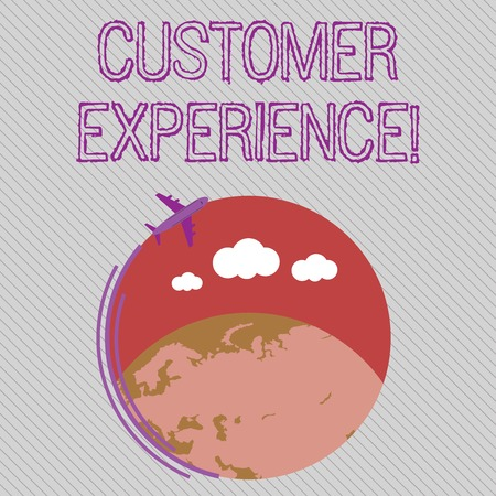 Text sign showing Customer Experience. Business photo showcasing product of interaction between organization and buyer Airplane with Moving Icon Flying Around Colorful Globe and Blank Text Space Stok Fotoğraf
