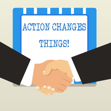 Word writing text Action Changes Things. Business photo showcasing start doing something against problem resolve or achieve it Imagens