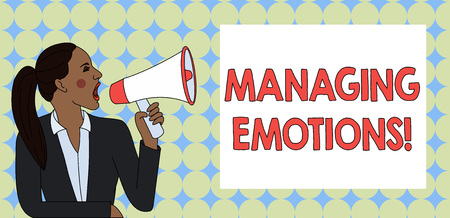 Writing note showing Managing Emotions. Business concept for ability be open to feelings and modulate them in oneself