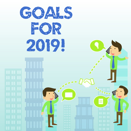 Word writing text Goals For 2019. Business photo showcasing object of demonstratings ambition or effort aim or desired result 스톡 콘텐츠