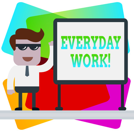 Word writing text Everyday Work. Business photo showcasing Refers to things or activities exist or happen every day 스톡 콘텐츠