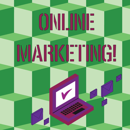Text sign showing Online Marketing. Business photo text leveraging web based channels spread about companys brand Color Mail Envelopes around Laptop with Check Mark icon on Monitor Screen