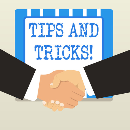 Word writing text Tips And Tricks. Business photo showcasing means piece advice maybe suggestion how improve 스톡 콘텐츠
