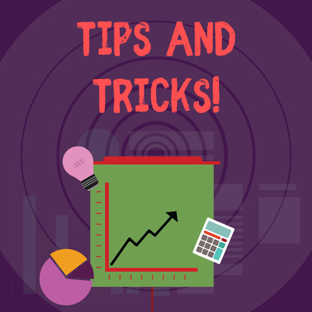 Writing note showing Tips And Tricks. Business concept for means piece advice maybe suggestion how improve Investment Icons of Pie and Line Chart with Arrow Going Up