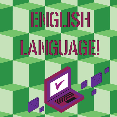 Text sign showing English Language. Business photo text third spoken native lang in world after Chinese and Spanish Color Mail Envelopes around Laptop with Check Mark icon on Monitor Screen Stock Photo
