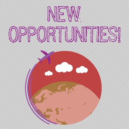 Text sign showing New Opportunities. Business photo showcasing exchange views condition favorable for attainment goal Airplane with Moving Icon Flying Around Colorful Globe and Blank Text Space Imagens - 122901314