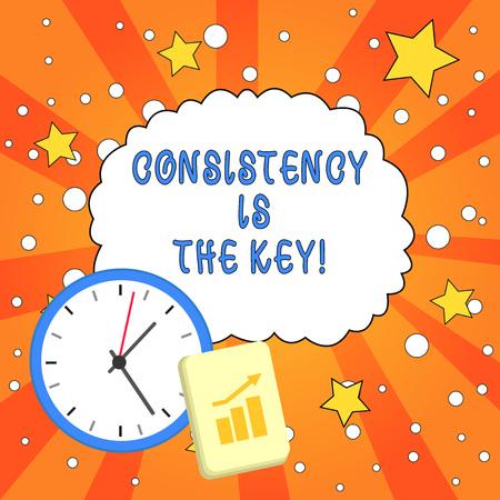 Signo de texto que muestra la consistencia es la clave. Exhibición fotográfica de negocios rompiendo malos hábitos y formando buenos Foto de archivo