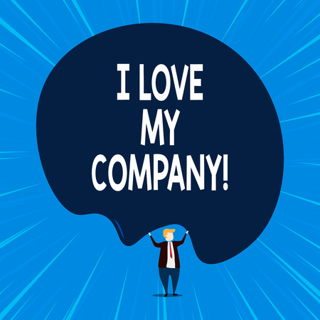 Writing note showing I Love My Company. Business concept for tell why admire their job and workplace 스톡 콘텐츠
