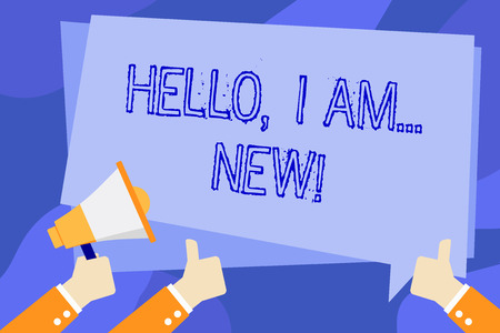 Writing note showing Hello I Am New. Business concept for used greeting or begin telephone conversation Hand Holding Megaphone and Gesturing Thumbs Up Text Balloon 스톡 콘텐츠