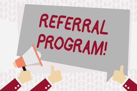 Text sign showing Referral Program. Business photo showcasing internal recruitment method employed by organizations Hand Holding Megaphone and Other Two Gesturing Thumbs Up with Text Balloon 스톡 콘텐츠
