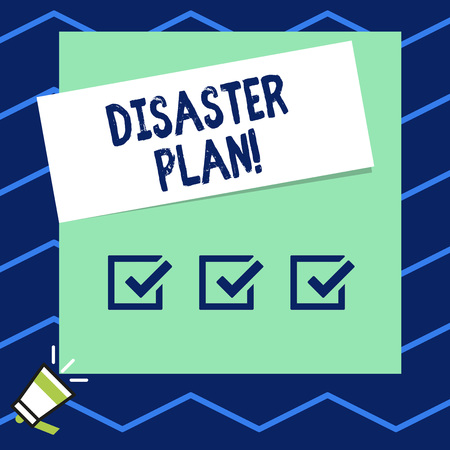 Writing note showing Disaster Plan. Business concept for outlines how an organization responds to an unplanned event Imagens