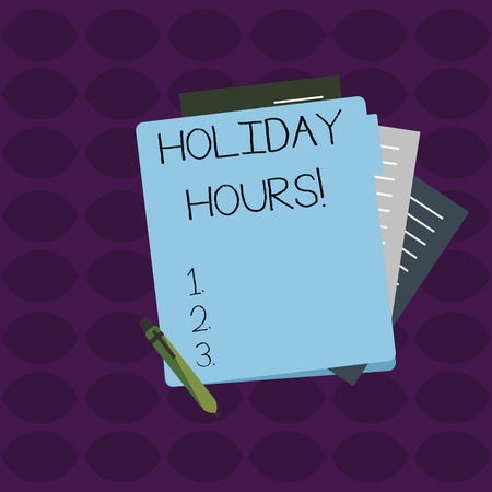 Word writing text Holiday Hours. Business photo showcasing Overtime work on for employees under flexible work schedules Colorful Lined Paper Stationery Partly into View from Pastel Blank Folder