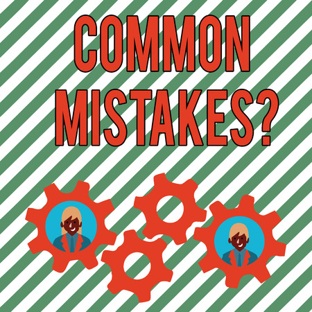 Conceptual hand writing showing Common Mistakes Question. Concept meaning repeat act or judgement misguided making something wrong Two Business People Inside Cog Wheel Gear for Teamwork Event Imagens