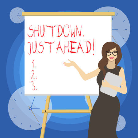 Word writing text Shutdown Just Ahead. Business photo showcasing closing factory business either short time or forever 스톡 콘텐츠