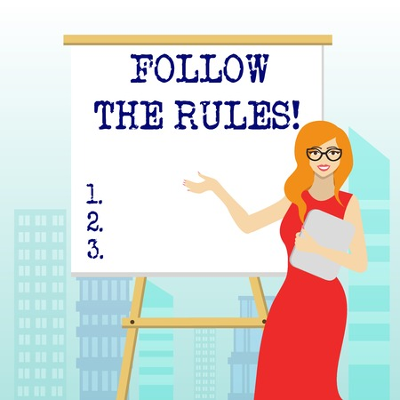 Writing note showing Follow The Rules. Business concept for go with regulations governing conduct or procedure