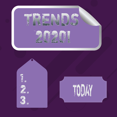 Word writing text Trends 2020. Business photo showcasing general direction in which something is developing or changing Blank Color Label, Self Adhesive Sticker with Border, Bended Corner and Tag
