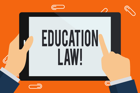 Word writing text Education Law. Business photo showcasing legal discipline covering all issues pertaining to schools Businessman Hand Holding, Pointing and Touching Colorful Tablet Blank Screen 스톡 콘텐츠