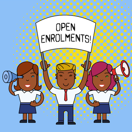 Word writing text Open Enrolments. Business photo showcasing when employees may make changes to elected fringe benefit Stock fotó
