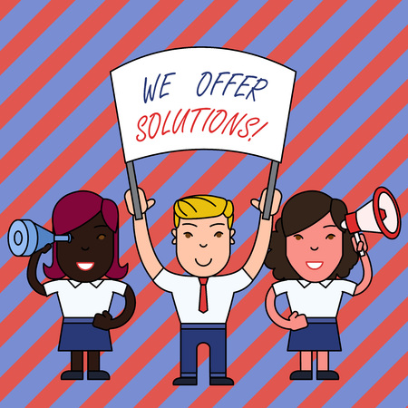 Conceptual hand writing showing We Offer Solutions. Concept meaning way to solve problem or deal with difficult situation Stock Photo