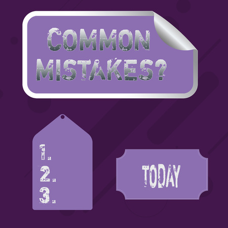Word writing text Common Mistakes question. Business photo showcasing repeat act or judgement misguided or wrong Blank Color Label, Self Adhesive Sticker with Border, Bended Corner and Tag