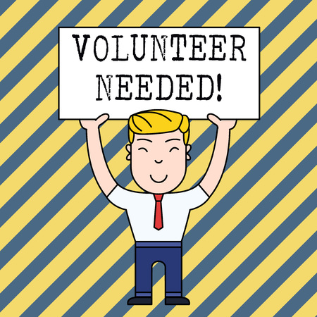 Text sign showing Volunteer Needed. Business photo showcasing asking demonstrating to work for organization without being paid Imagens