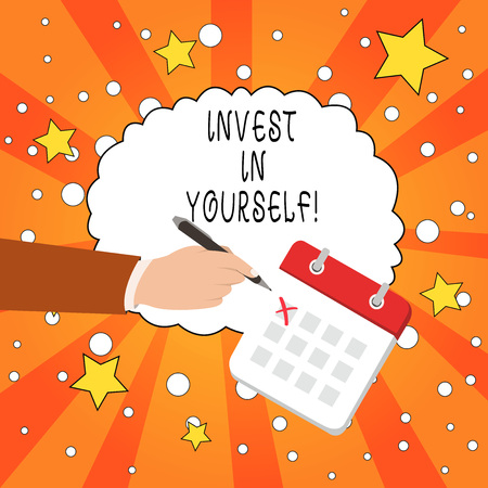 Writing note showing Invest In Yourself. Business concept for learn new things or materials thus making your lot better