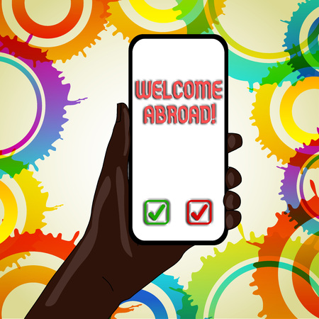 Text sign showing Welcome Abroad. Business photo text something that you say when someone gets on ship