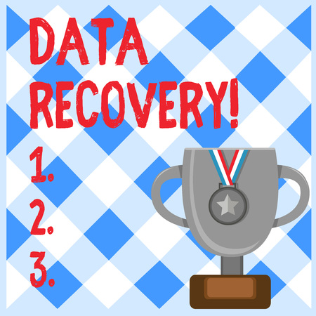 Conceptual hand writing showing Data Recovery. Concept meaning process of salvaging inaccessible lost or corrupted data