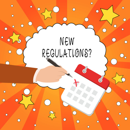Writing note showing New Regulations Question. Business concept for rules made government order control way something is done Stock fotó