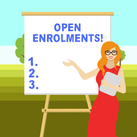 Conceptual hand writing showing Open Enrolments. Concept meaning when employees may make changes to elected fringe benefit