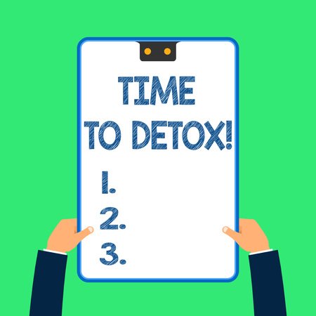 Text sign showing Time To Detox. Business photo text when you purify your body of toxins or stop consuming drug 스톡 콘텐츠