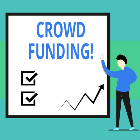 Conceptual hand writing showing Crowd Funding. Concept meaning technique of raising money from a large number of showing