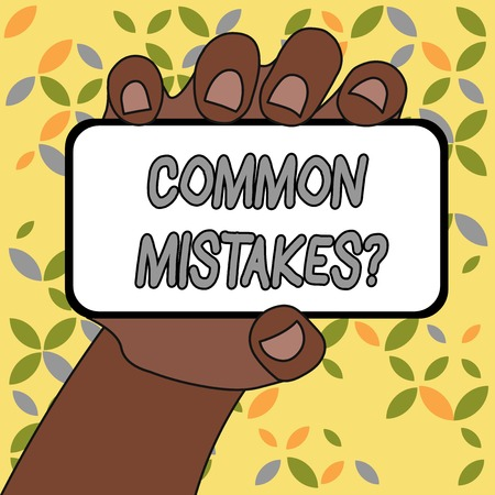 Conceptual hand writing showing Common Mistakes Question. Concept meaning repeat act or judgement misguided making something wrong Imagens