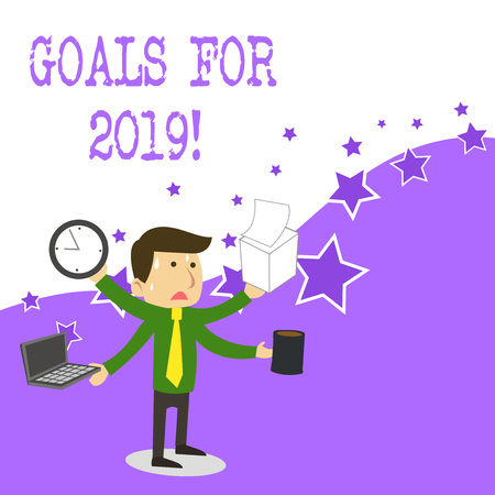 Text sign showing Goals For 2019. Business photo text object of demonstratings ambition or effort aim or desired result Imagens - 122900989