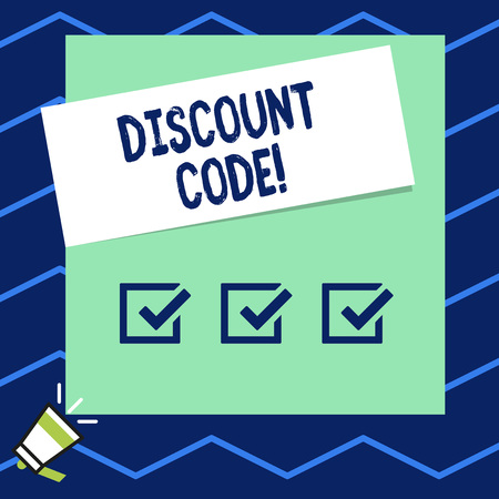 Writing note showing Discount Code. Business concept for Series of letters or numbers that allow you to get a discount